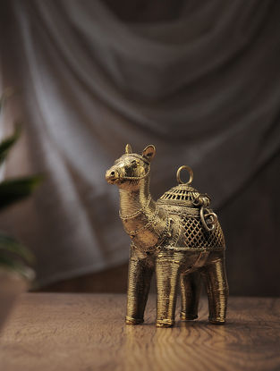 Dhokra Brass Decorative Box with Camel Design (L:6.6in, W:2in, H:6in)