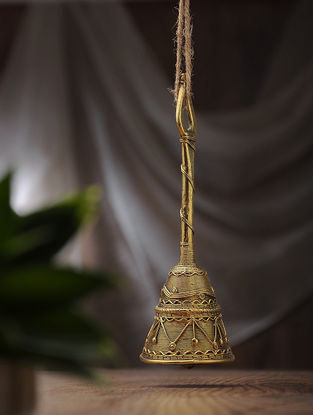Dhokra Brass Hand Bell (L:2.6in, W:2.6in, H:7.6in)