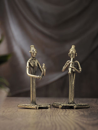 Dhokra Brass Table Accent with Sitting Musician (Set of 2) (L:2.2in, W:3.3in, H:6in)