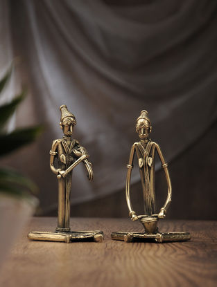 Dhokra Brass Table Accent with Sitting Musician (Set of 2) (L:2.5in, W:3.5in, H:6in)
