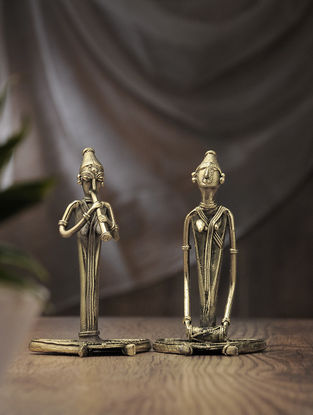 Dhokra Brass Table Accent with Sitting Musician (Set of 2) (L:2.5in, W:3.6in, H:6in)