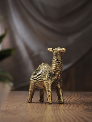 Dhokra Brass Table Top Accent with Camel Design (L:6in, W:2.2in, H:5in)