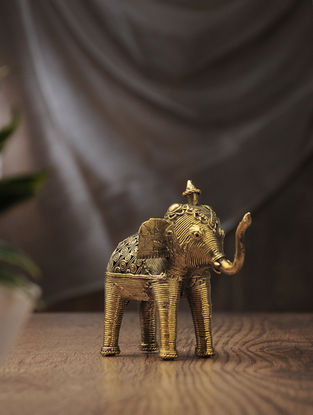 Dhokra Brass Table Top Accent with Elephant Design (L:4.5in, W:3.3in, H:4in)
