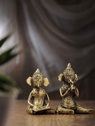 Dhokra Brass Lord Ganesha (Set of 2) (L:2.6in, W:1.5in, H:4in)