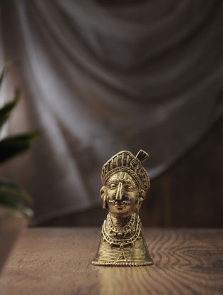 Dhokra Brass Table Accent with Tribal Pagdi Design (L:2.2in, W:2.2in, H:4.2in)