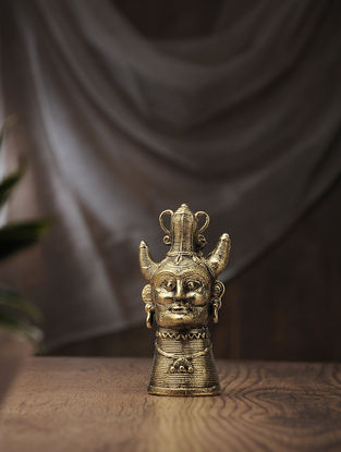 Dhokra Brass Table Accent with Tribal Pagdi Design (L:2in, W:2in, H:5.5in)