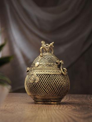 Dhokra Brass Decorative Coconut Box (L:2.7in, W:2.7in, H:6.6in)