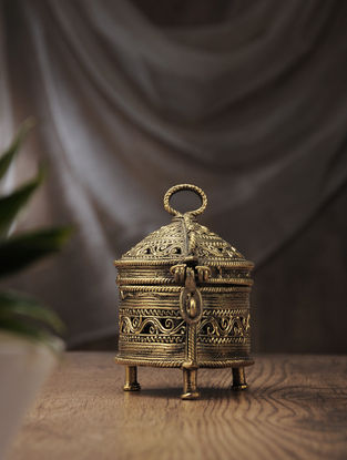 Dhokra Brass Pana Box (L:5.1in, W:4in, H:6in)
