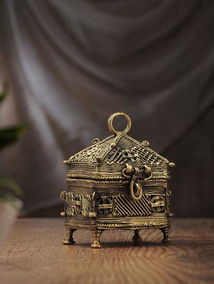 Dhokra Brass 4 Corner Box (L:3.2in, W:4.1in, H:5.2in)