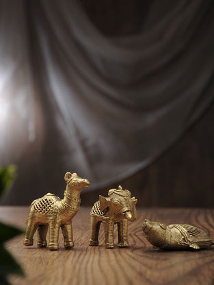 Dhokra Brass Table Top Accents with Animal Design (Set of 3) (L:3.5in, W:1in, H:3.1in)