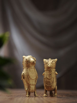 Dhokra Brass Table Top Accents with Animal Design (Set of 2) (L:0.7in, W:1in, H:2.7in)