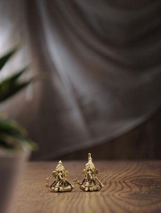 Dhokra Brass Tiny Ganesha (Set of 2) (L:0.5in, W:1in, H:1.5in)
