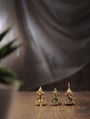 Dhokra Brass Tiny Ganesha (Set of 3) (L:0.7in, W:1in, H:1.5in)