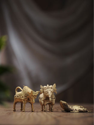 Dhokra Brass Table Top Accents with Animal Design (Set of 3) (L:1.7in, W:1.1in, H:2in)