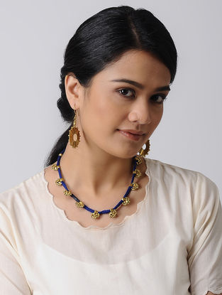 Blue Thread Brass Necklace with a pair of Earrings (Set of 2)