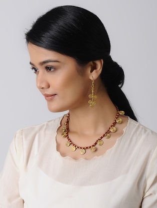 Red Thread Brass Necklace with a pair of Earrings (Set of 2)
