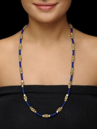 Blue Thread Brass Necklace