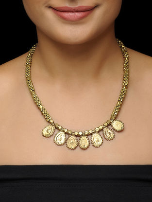 Classic Brass Necklace with Floral Motif