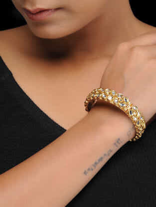 White Gold Plated Kundan Inspired Brass Bangles