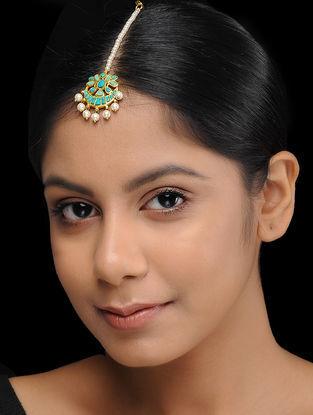 White-Green Gold Plated Kundan Inspired Brass Mang Tikka