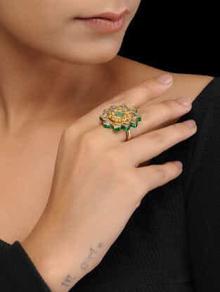 White-Green Gold Plated Kundan Inspired Brass Ring