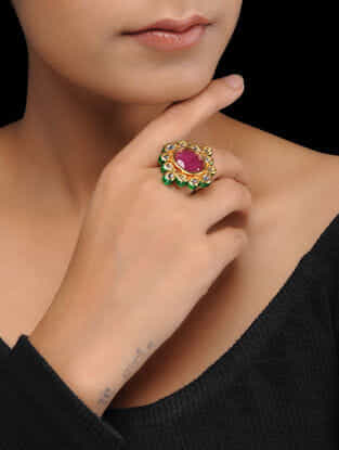 White-Red Gold Plated Kundan Inspired Brass Ring