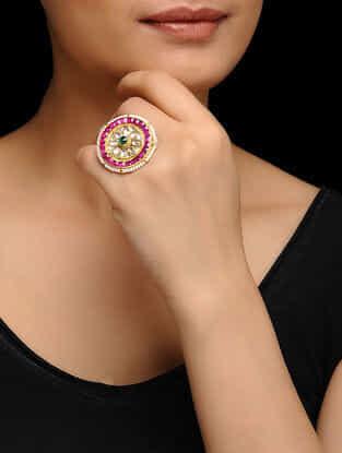 Pink-Green Gold Plated Kundan Inspired Brass Ring