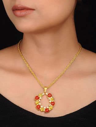 Red-Yellow Gold Plated Brass Necklace