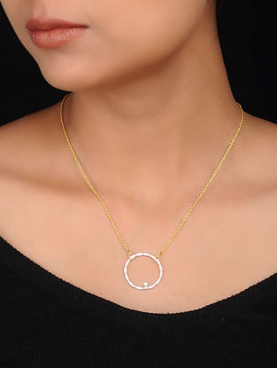 White Gold Plated Brass Necklace