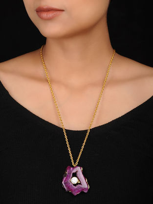 Purple Gold Plated Brass Necklace