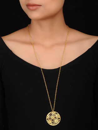 Green Gold Plated Brass Necklace