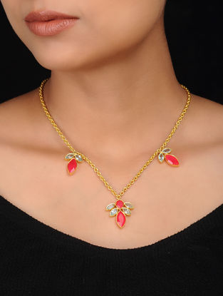 Red-White Gold Plated Brass Necklace
