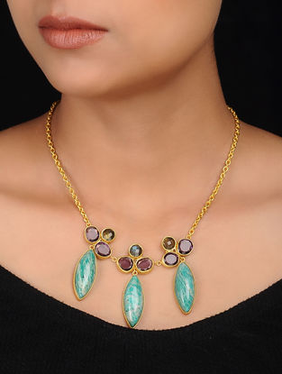 Green-Purple Gold Plated Brass Necklace