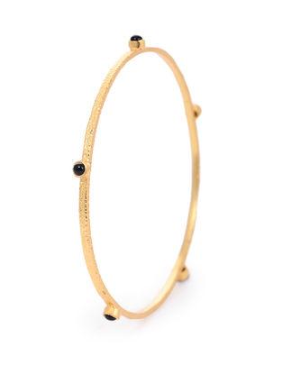 Black Onyx Gold-plated Silver Bangle (Bangle Size -2/14)