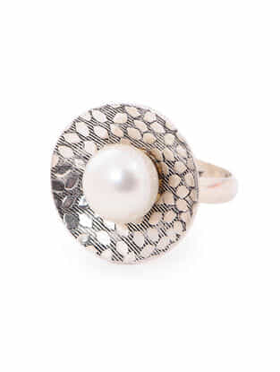 Pearl Silver Ring (Ring Size -8)