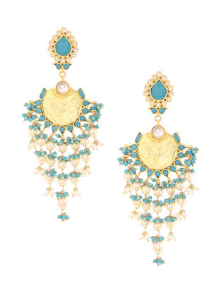 Turquoise Kundan-inspired Gold-plated Silver Earrings