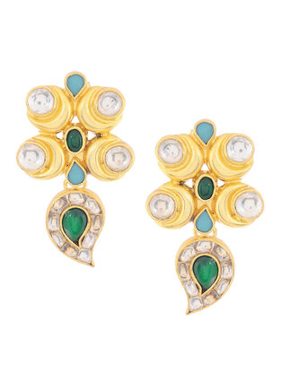 Green Onyx and Turquoise Kundan-inspired Gold-plated Silver Earrings