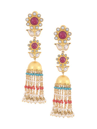 Red Onyx and Turquoise Kundan-inspired Gold-plated Silver Jhumkis