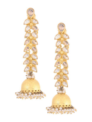 Kundan-inspired Gold-plated Silver Jhumkis with Pearls