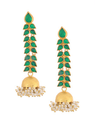 Green Onyx Gold-plated Silver Jhumkis with Pearls