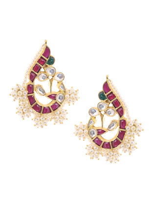 Red-Green Onyx Kundan-inspired Gold-plated Silver Earrings