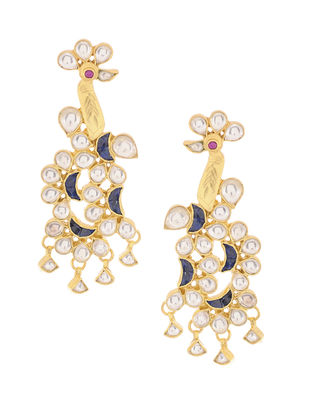 Blue Onyx Kundan-inspired Gold-plated Silver Earrings