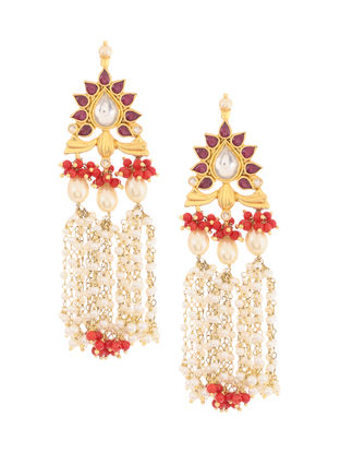 Red Onyx Kundan-inspired Gold-plated Silver Earrings