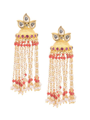 Red Onyx Kundan-inspired Gold-plated Silver Jhumkis