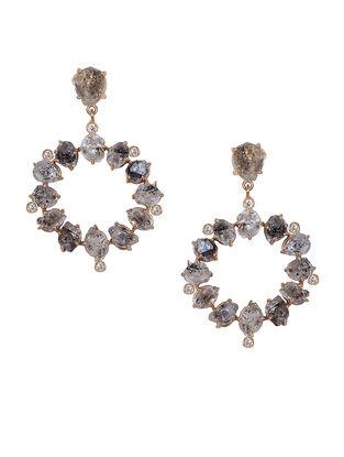 Grey Gold Tone Kaska Circular Large Drop Earrings