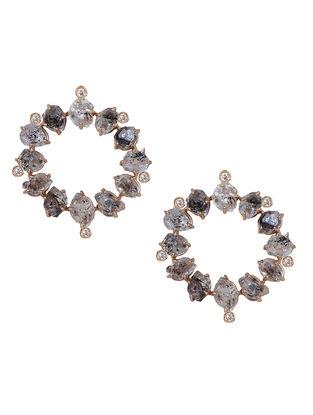 Grey Gold Tone Kaska Circular Stud Earrings
