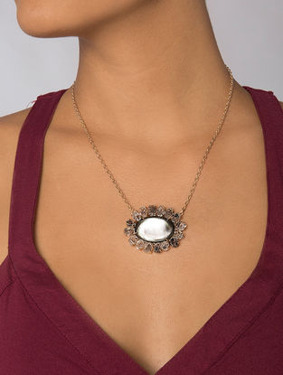 Grey Gold Tone Kaska Mother of Pearl Pendant Necklace