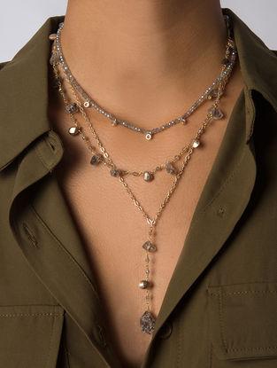 Grey Gold Tone Kaska Layered Necklace