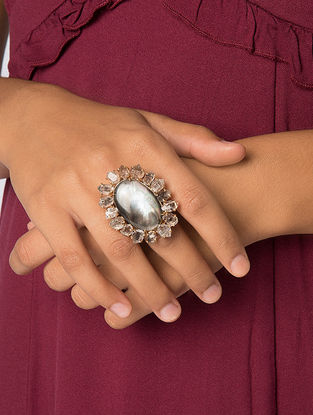Grey Gold Tone Kaska Mother of Pearl Ring