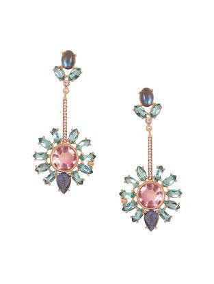 Pink-Grey Gold Tone Rosaleen Soliel Earrings